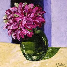 Karen Balon: 30 Days of Painting. Glass Study #5 ~ Green Glass with Pink Flowers