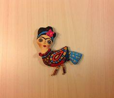 Frida brooch hand painted pin bird textile by NatashaArtDolls