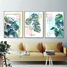 Living Room Decor, Bedroom Decor, Wall Decor, Wall Art, Geometric Painting, Geometric Shapes, Tropical Art, Tropical Birds, Tropical Plants