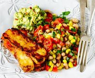 Cajun grilled halloumi with lime black-eyed bean salad & guacamole