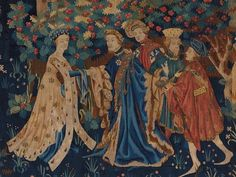 Paris, musée du Louvre, département des Objets d'art, n° inv.OA 3131. tapestry c 1420. Fitted gown, hanging sleeves and matching border