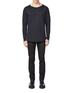 Skooly sweatshirt-Men's sweatshirt in cotton fleece blend. Features raglan sleeves and rounded neckline with flatlock seam. Bottom hem and sleeve with raw edges. Men's Sweatshirts, Cotton Fleece, Neckline, Sleeves, Sweaters, Fashion, Moda, Plunging Neckline, Sweater