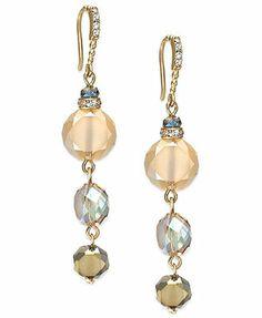 c.A.K.e. by Ali Khan Gold-Tone Faceted Bead Triple Drop Earrings