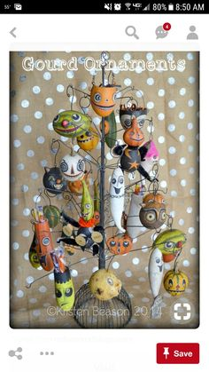Halloween Gourds, Theme Halloween, Halloween Ornaments, Halloween Trees, Halloween Boo, Halloween Projects, Holidays Halloween, Vintage Halloween, Halloween Decorations