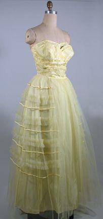 1950s  Strapless Lemon Yellow Net and Taffeta Formal Evening Dress