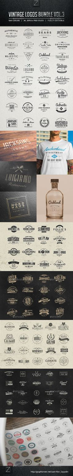 130 Vintage Logos Bundle. Download: http://graphicriver.net/item/130-vintage-logos-bundle-vol3/11198215?ref=ksioks