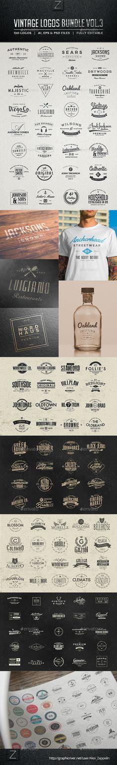 130 Vintage Logos Bundle. Download: http://graphicriver.net/item/130-vintage-logos-bundle-vol3/11198215?ref=ksioks