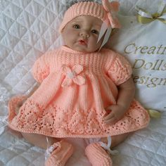 Crochet Dolls Designs Baby Dolls Knitting Pattern Dress Set For Doll Month Baby Crochet Baby Dress Pattern, Knit Baby Dress, Baby Dress Patterns, Doll Clothes Patterns, Baby Knitting Patterns, Free Knitting, Pattern Dress, Free Crochet, Double Knitting