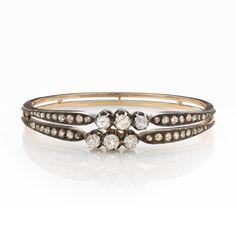 Belle Époque double-row diamond bangle, French circa 1890