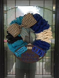 Burlap Wreath Football House Divided everyday by craftygirlhammond