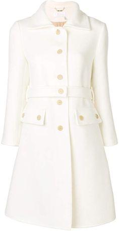 A Guy Laroche haute couture dress suit, circa 1970 Haute Couture Dresses, Style Couture, Haute Couture Fashion, Trench Coats, Belted Coat, Women's Coats, Fall Coats, Older Women Fashion, Womens Fashion