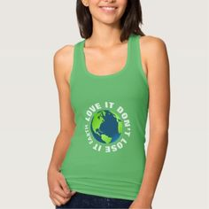 Eco Friendly Go Green Love Planet Earth Themed Tank Top - click/tap to personalize and buy