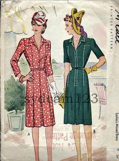 Vintage 1940s jurk patroon Shirtwaist Topstiching Detail Front