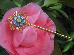 Forget Me Not Golden Bobby Pin by thepinkcamellia on Etsy