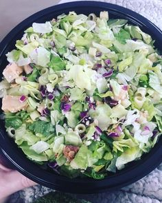 Chopped salad - sans tomatoes - from @portilloshotdogs.  Thanks @melisalw for a new addiction! #salad #bacon #chicken #lettuce