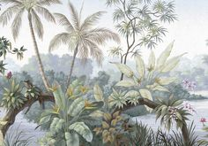 Peinture à l'huile Tropical Rainforest Wallpaper Wall Mural, Jungle Frorest Trees Scenic Wall Mural, Living Room Bedroom Wallpaper Murals Tree Wallpaper Green, Wallpaper Wall, Custom Wallpaper, Photo Wallpaper, Poster Wall, Poster Prints, Cleaning Walls, Mural Wall Art, Traditional Wallpaper