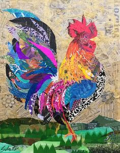 """Good Morgan"" - collage by Karla Schuster Collage Kunst, Paper Collage Art, Collage Art Mixed Media, Tissue Paper Art, Torn Paper, Paper Mosaic, Magazine Collage, Chicken Art, Animal Quilts"