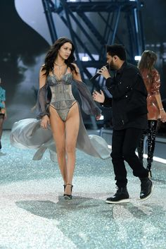 Bella Hadid and The Weeknd Come Face to Face on the H&M Runway - HarpersBAZAAR.com