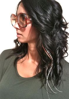 We love this #1970s look, with big oversized sunglasses and long natural-colored #Featherlocks --via  Megan's Suite Salon in Mokena, IL.