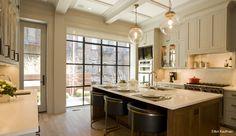 Kitchen island, cabinets, layout