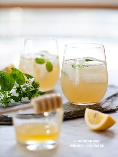 Recipe Whiskey Lemonade Ingredients ½ cup raw honey ½ cup water 1-2 stems of your favorite herb (basil, rosemary, lavendar or mint) with a few leaves reserved for garnish ¼ cup lemonade 1 shot good whiskey ¼ cup soda fresh lemon slices to garnish