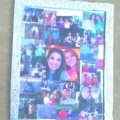 Cute idea for a friendship picture board. Poster board with pictures mod podged onto it. For frame: insulation board covered with glitter! Friendship Pictures, Insulation Board, Picture Boards, Glue Gun, Dorm Room, Projects To Try, Scrapbooking, Glitter, Diy Crafts