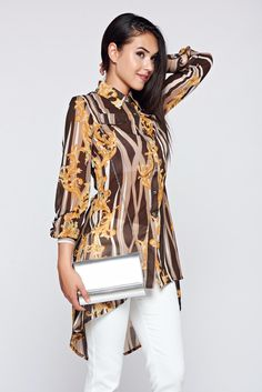 MissQ brown voile fabric asymmetrical women`s shirt with long sleeves, women`s shirt, metalic accessory, print details, metal eyelets fastening, easy cut, asymmetrical cut, slightly transparent fabric, airy fabric, voile fabric