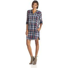 VELVET BY GRAHAM & SPENCER Women's Plaid Shirtdress (4.325 RUB) ❤ liked on Polyvore featuring dresses, shirt-dress, shirt dress, velvet by graham & spencer dress, long-sleeve shirt dresses and long plaid shirt dress