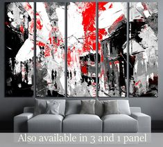 urban, city life, sin city inspiration - black and red color    №3233 Canvas Print for Office wall Decor #Decor #Art #Office #Interior #Canvas #Decoration #Ideas #Modern #Print