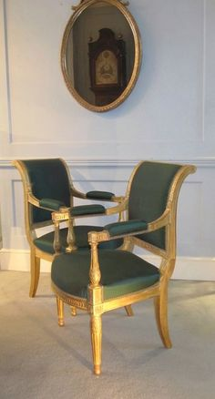 Pair of Early 19th Century French Gilt Fauteuil Armchairs.