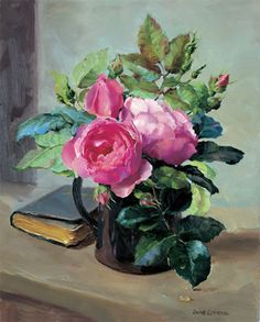 Detailed image of our Still Life with Opening Roses Greetings card by Anne Cotterill