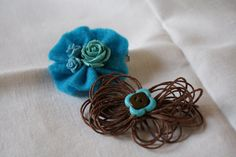 Aqua Rose and Button Hair Clip /Lapel Brooches by BluebirdDaughter