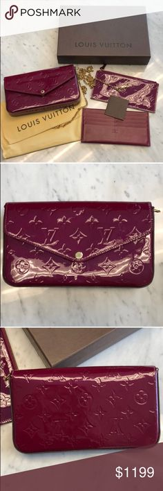 dc7ec916874cf Louis Vuitton Felicie Pochette Clutch Comes with certificate of  authenticity along with box