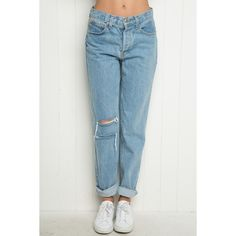High-Rise Ripped Mom Jeans ($40) ❤ liked on Polyvore featuring jeans, destroyed jeans, elastic-waist jeans, distressing jeans, high waisted distressed jeans and distressed jeans