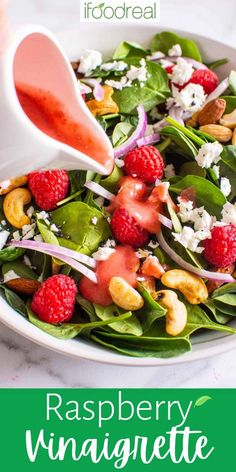 This quick and easy raspberry vinaigrette is made with 6 simple ingredients and has the perfect balance of sweetness and tang. This recipe is naturally gluten-free, dairy-free, and refined-sugar-free and loaded with fresh raspberries, subtle citrus, and a smooth texture. This dressing is a welcome addition to all of your favourite summer salad recipes! Healthy Soup Recipes, Clean Eating Recipes, Real Food Recipes, Salad Recipes, Healthy Salads, Healthy Eats, Delicious Recipes, Tasty, Vegetable Soup With Chicken