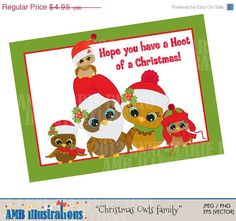 80% OFF Christmas Owl Family for clipart and by AMBillustrations. If you want access to freebies and contests go like our Facebook page: https://www.facebook.com/ambillustration  #clipart #vectorgraphic #digitalscrapbooking #clipart #digitalart #christmas #holiday #owls #christmasowls #santahats #greetingcard #owlfamily #christmascards #christmascard #christmaswishes