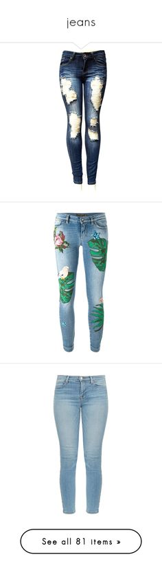 """""""jeans"""" by loves-elephants ❤ liked on Polyvore featuring jeans, pants, bottoms, denim, white distressed skinny jeans, white ripped skinny jeans, white destroyed skinny jeans, blue skinny jeans, ripped skinny jeans and trousers"""