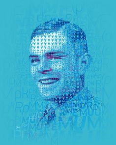 Decoding Alan Turing. Mosaic portrait of Alan Turing using the mathematical analysis used to decode the Enigma machines during the World War II.