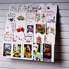 Greetings cards displayed on slatwall
