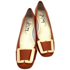 Pre-Owned French Sole  fs/ny  Burnt-Orange Faux-Ivory Buckle Ballet... ($75) ❤ liked on Polyvore featuring shoes, orange, synthetic leather shoes, ballet pumps, high heeled footwear, leather shoes and ivory ballet shoes