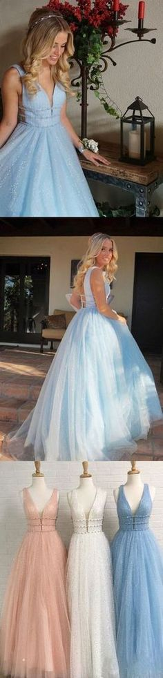 Sparkly Deep V Neck Long Beaded Backless Light Blue Prom Dresses Cheap Party Dress cg14429 Cheap Party Dresses, Prom Dresses Blue, Homecoming Dresses, Formal Dresses, Mermaid Gown Prom, Prom Looks, Ball Gowns, Backless, Fashion Dresses