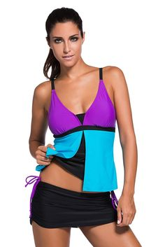 Colorblock Tankini Skort Item Type: Bikini Set Gender: Women Support Type: Wire Free Material: Spandex, Polyester Fit: Fits true to size, take your normal size With Pad: Yes Waist: Low Waist With Pad: