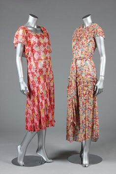 Two floral printed chiffon dresses, early 1930s, one : Lot 21