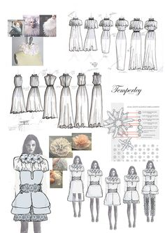Fashion Sketchbook - fashion design for Alice Temperley project with historical references, dress sketches & embellishment ideas; fashion portfolio // Hannah Mitcheson