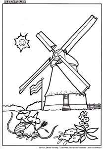 kleurplaat molens themadagen thema nederland