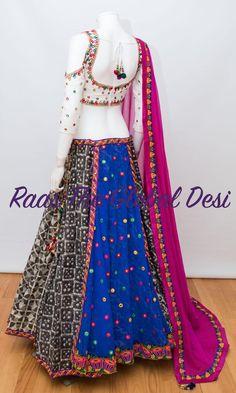 Silk Chania with designer brocade blouse and contrast dupatta Garba Chaniya Choli, Garba Dress, Navratri Dress, Indian Fashion Dresses, Indian Designer Outfits, Indian Outfits, Fashion Outfits, Teen Fashion, Choli Designs