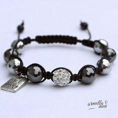 #bracelets #jewellery Shamballa bracelet with pendant, bracelet with pendant, silver black bracelet, gift for her
