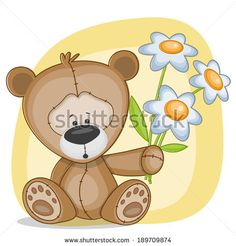 Greeting card Bear with flowers - stock photo