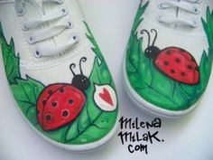 painted shoes ladybugs! I need these for hailey bug!