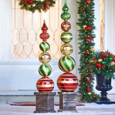 Christmas DIY : Combine your love of classic ornaments with the unique stack design of these vibrantly colored oversized finials. They sit in an antique gold square base for added Oversized Outdoor Christmas Ornaments that Santa will see Christmas Topiary, Outside Christmas Decorations, Christmas Porch, Noel Christmas, Diy Christmas Ornaments, Christmas Projects, Christmas Wreaths, Christmas Centerpieces, Christmas 2019